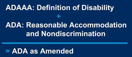 ADAAA: Definition of Disability + ADA: Reasonable Accommodation and Nondiscrimination = ADA as Amended