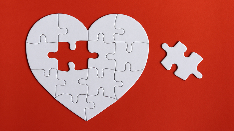 a missing piece of a heart puzzle