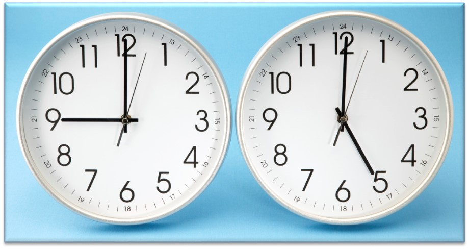 clocks showing 9 am and 5 pm