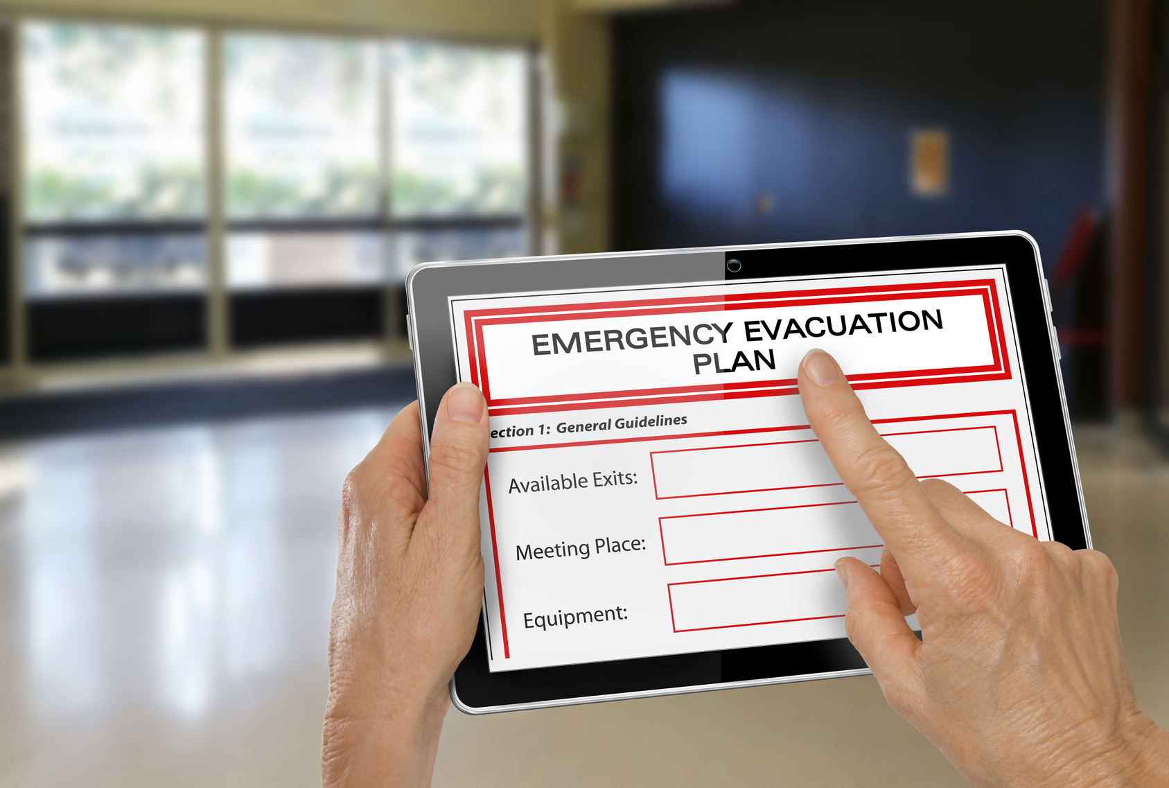 Emergency evacuation plan on tablet